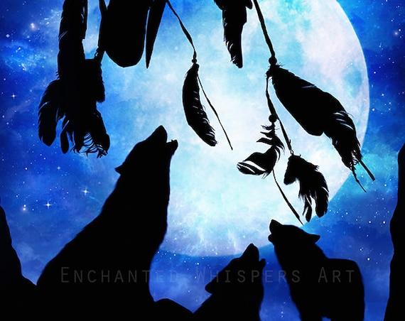 Dreamcatcher wolf full moon art print