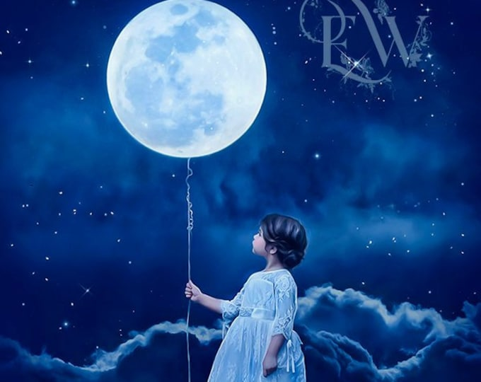 Surreal fantasy child with moon balloon art print, blue wall decor, nursery art