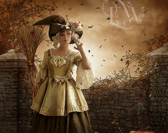 Halloween Witch with broom and cat fantasy art print , Halloween art, cute Witch