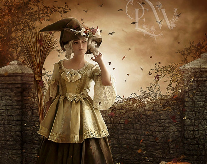 Halloween Witch with broom and cat fantasy art print by Enchanted Whispers