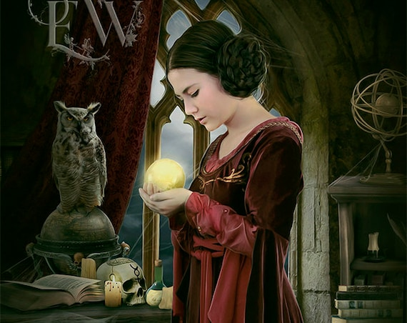 fantasy medieval sorceress with Crystal ball art print