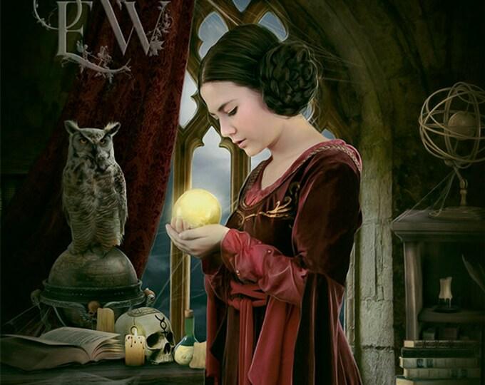 fantasy medieval sorceress with Crystal ball art print