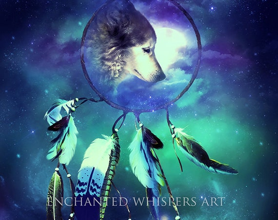 Fantasy wolf dream catcher art print by Enchanted Whispers