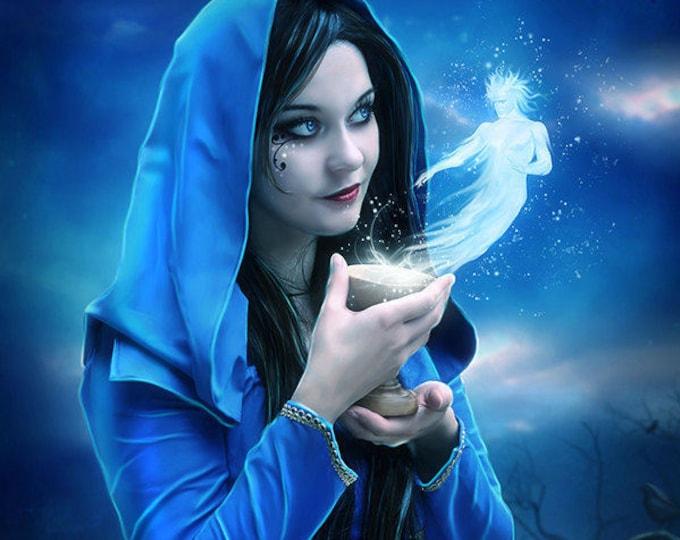 cloaked Pagan fantasy woman art print by Enchanted Whispers