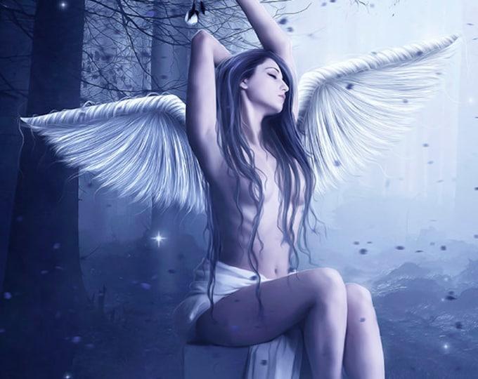 beautiful female angel in forest art print, fantasy wall art, fantasy woman print