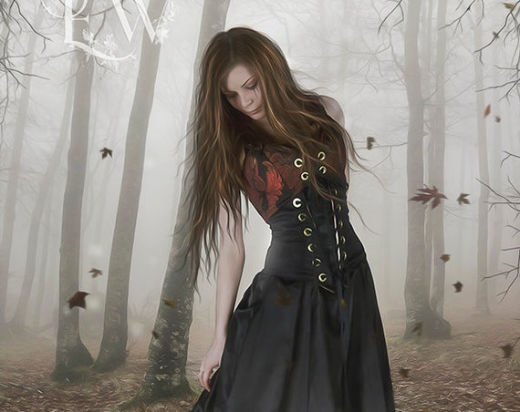 Gothic woman in forest with mirror art print