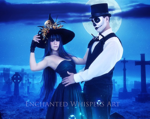 fantasy Halloween couple art print, day of the dead, Witch poster, Halloween decor