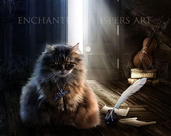 cute Fantasy cat art print