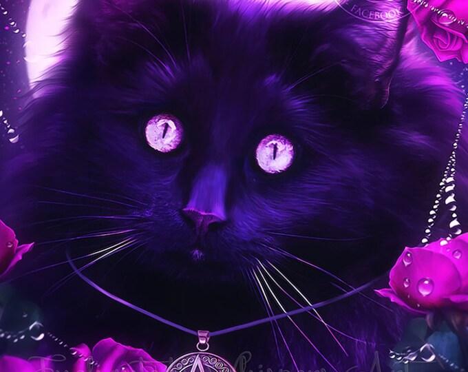 Wiccan black cat portrait art print