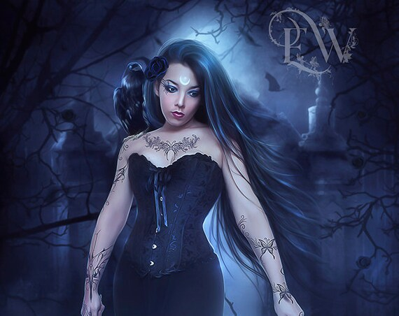 Gothic Wiccan Witch with raven fantasy art print