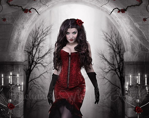 Lady in Red Gothic fantasy woman art print