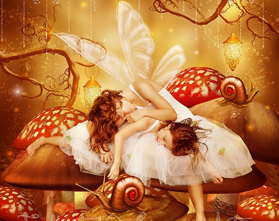 cute little fairy sisters sleeping on mushrooms art print