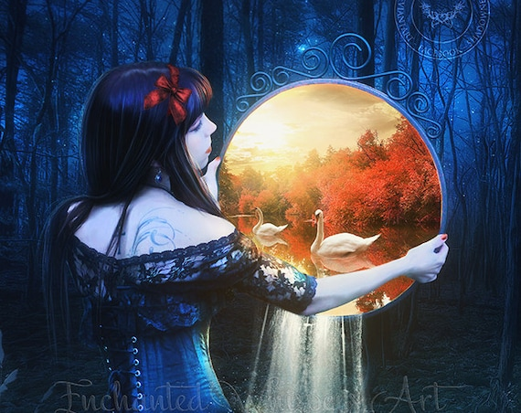 surreal fantasy woman holding mirror blue art print