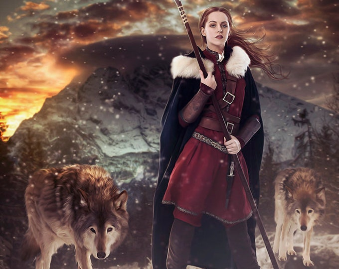 fantasy warrior female with wolves art print