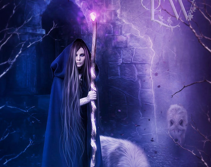 fantasy witch with wolves art print