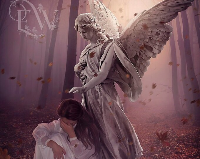 Weeping woman in forest with stone angel art print