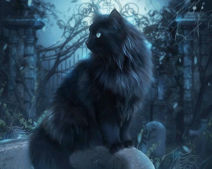 Gothic black cat in cemetery art print