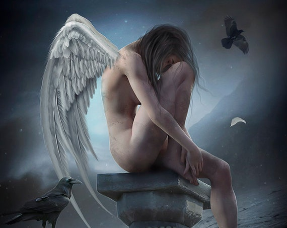 Fallen Angel female figure art print, Gothic Angel wall poster, fantasy digital painting