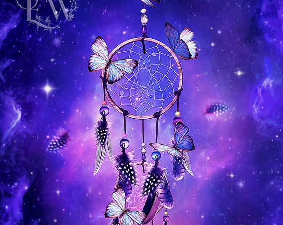 purple fantasy dream catcher with butterflies art print