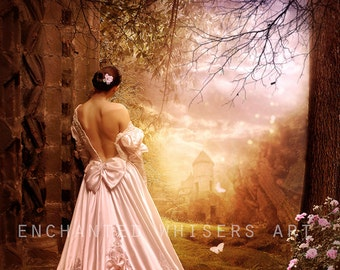 Fairytale Princess in the forest art print, fantasy woman and castle wall decor