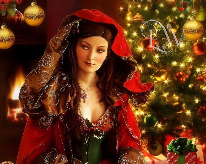 Christmas art print, Christmas Goddess art, Holiday wall art