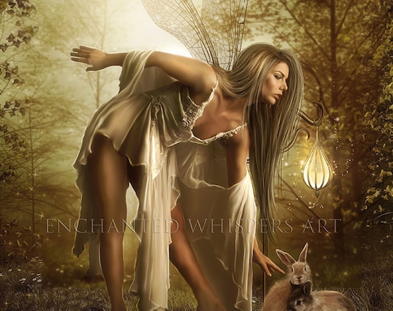 blonde fairy and bunny fantasy art print wall decor