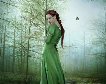 medieval fantasy woman in green dress in forest art print