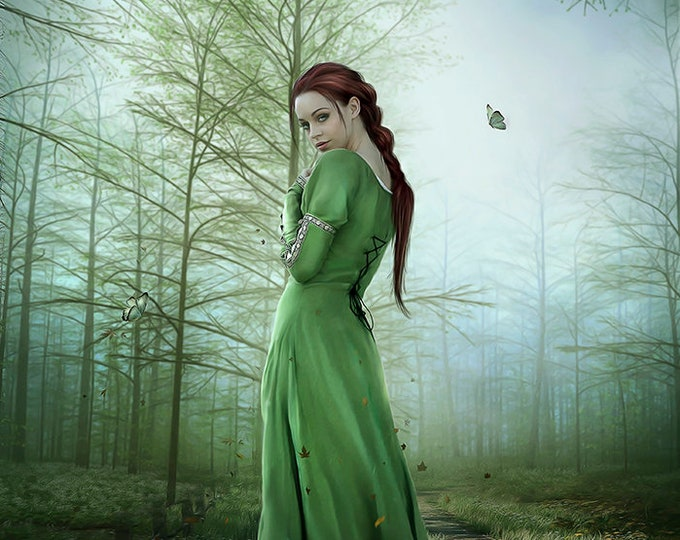 beatiful red haired fantasy woman in enchanted forest art print