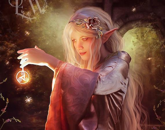 elven woman art, elf fantasy print, elven magic print, fantasy woman art, triskel fantasy art, magical woman, mage art print, fantasy forest