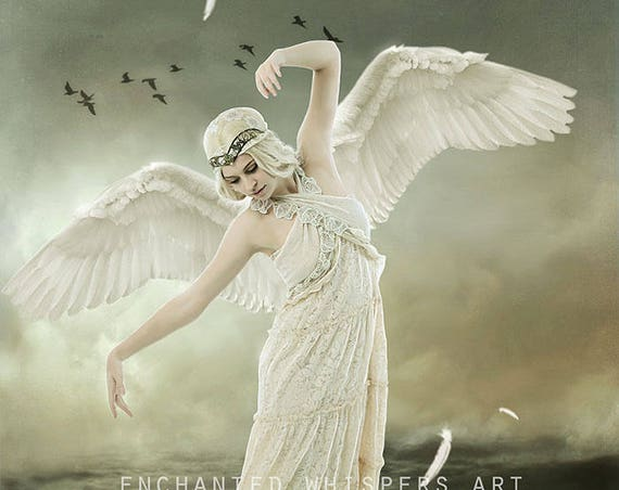 whimsical blonde fantasy angel woman art print
