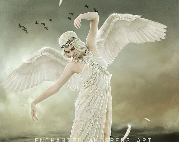 whimsical blonde fantasy angel woman art print