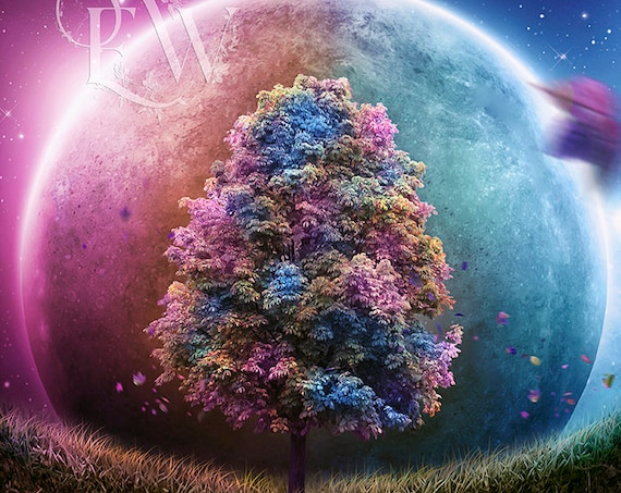 tree of life roots colorful space digital art print, beautiful tree poster, surreal nature wall decor