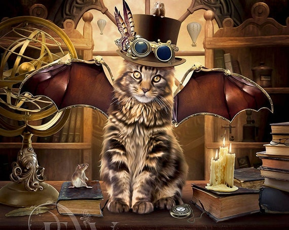 Steampunk cat art print, fantasy cat wall decor, digital art poster earth tones
