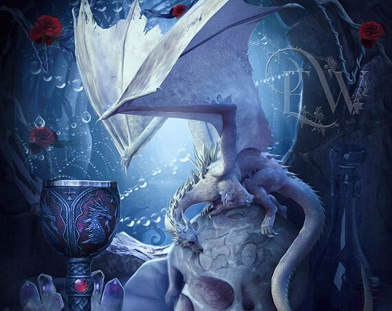 fantasy dragon with skull art print, white dragon poster, crystal dragon digital art