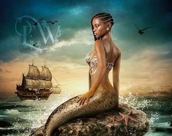 Beautiful dark skinned mermaid art print, fantasy siren poster, mermaid wall decor