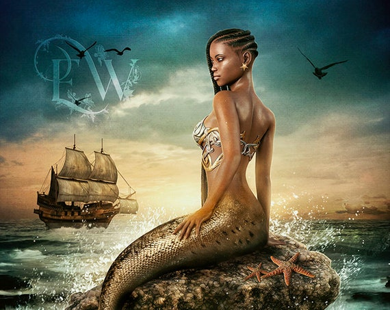 Beautiful dark skinned mermaid art print, fantasy siren poster, mermaid wall decor