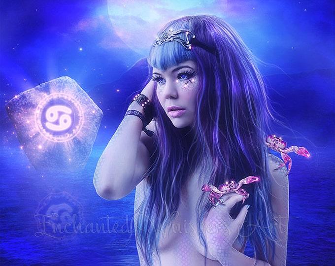 Zodiac Cancer sign fantasy woman art print