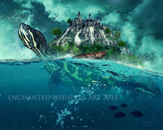 Surreal turtle Island fantasy art print