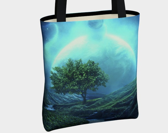 tree of life blue canvas tote bag