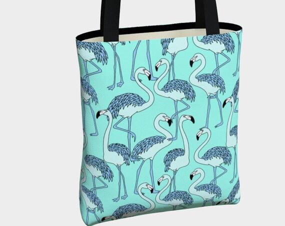 adorable and unique teal flamingo print tote bag