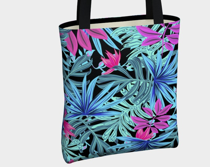 colorful tropical leaves pattern tote bag