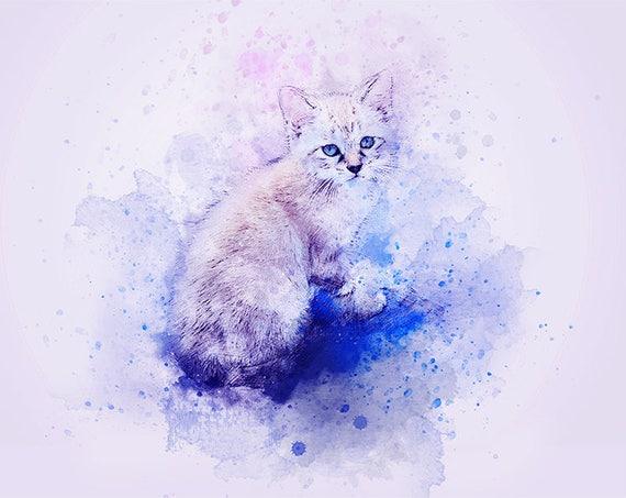 watercolor cat kitten art print