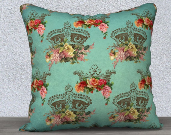 teal vintage crowns pattern pillow case size 18x18 inches