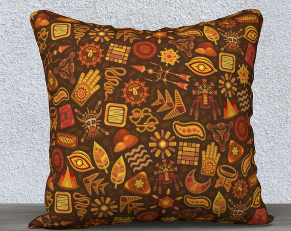 Aztec tribal pattern brown and orange pillow cover size 18x18