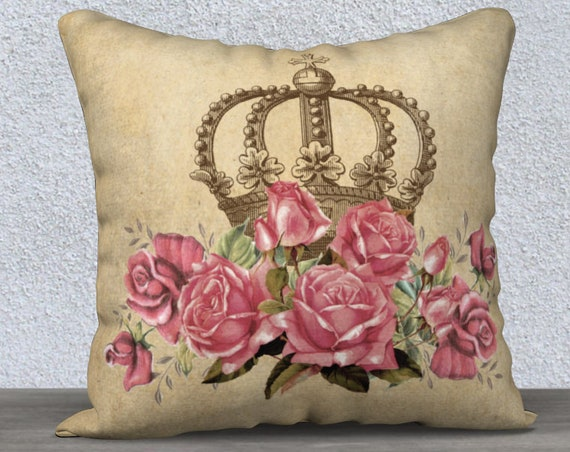 vintage style crown and rose print pillow cover