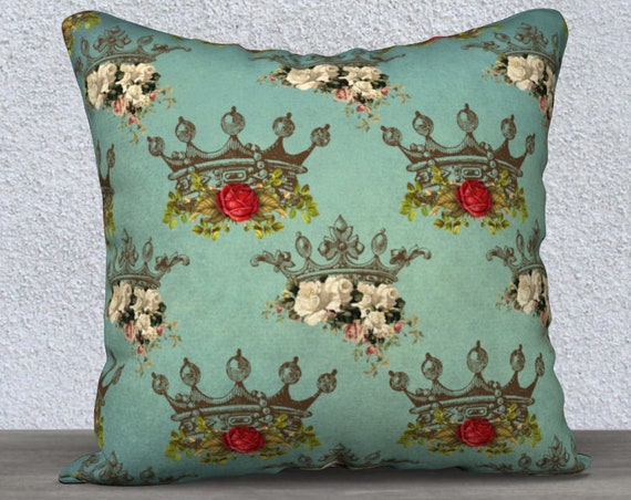 vintage style teal crowns pillow case size 18x18 inches