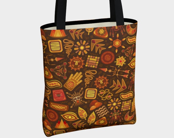 unique Aztec tribal print tote bag in brown and orange