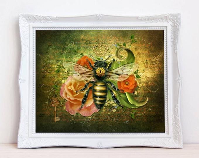 vintage style bumble bee art print