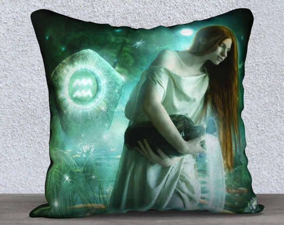 Aquarius fantasy art pillow accent cover