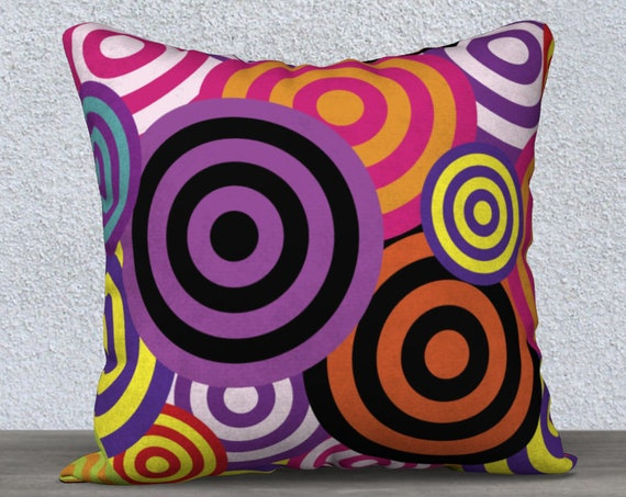 colorful geomentric circles pillow cover size 18x18 inches